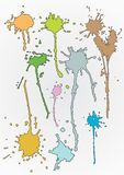 Hand traced colourful splats Stock Images