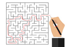 The hand traced the path through the labyrinth vector illustration