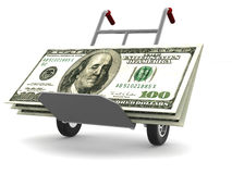 Hand Track with dollars Royalty Free Stock Photos