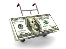 Hand Track with dollars. Very beautiful three-dimensional illustration, figure. Hand Track with dollars. 3d Stock Photo