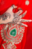 Hand with traditional indian ornament Stock Photos