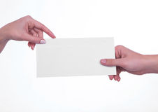 Hand transmitting envelope. Isolated on white Stock Photo