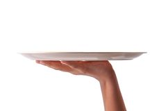 Hand with tray. Human hand holding empty tray on isolated background Stock Photo