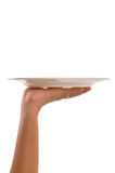 Hand with tray Stock Photos
