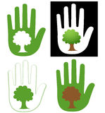Hand and tree. Illustration of hand and tree symbol. Human hand and the tree on it royalty free illustration