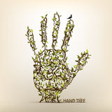 Hand tree art Stock Photo