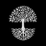 Hand tree in black and white for community help Royalty Free Stock Photos