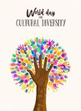 Hand tree concept for cultural diversity day. Cultural Diversity Day poster illustration. Tree made of human hand prints together for love and peace concept royalty free illustration