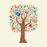 Hand tree illustration colorful diverse community. Concept tree made of colorful hand print art. Diverse community concept for social help, teamwork or charity Stock Photo