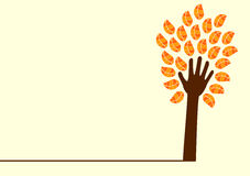 Hand tree and leaves. Hand tree with orange leaves and left copy space to write stock illustration