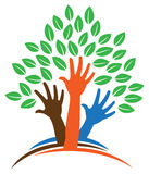 Hand Tree Logo. An abstract tree image logo icon with hands as a trunk and leaves Stock Images