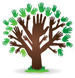 Hand Tree Logo. An abstract tree image logo icon with hands as a trunk and leaves Stock Image