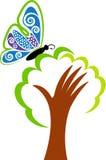 Hand tree logo Stock Photography