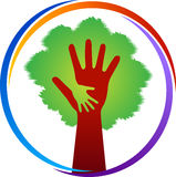 Hand tree logo. Illustration art of a hand tree logo with isolated background Royalty Free Stock Photography
