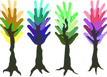 Hand trees. Four trees from colorful hands Stock Images