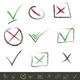 Hand-trek de reeks van het vinkjespictogram. Vector. Royalty-vrije Stock Afbeelding