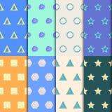 Hand-trekkend geplaatste krabbel naadloze patronen Royalty-vrije Stock Afbeelding