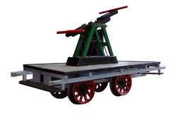 Hand trolley. Small rail-mounted vehicle of the course stock photo