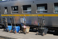 Hand trolley. A conveyance for cargo loaded, Thailand Royalty Free Stock Image