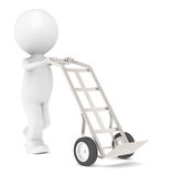 Hand Truck. 3D Little Human Character with a Hand Truck. Dolly Truck Stock Photography