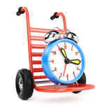 Hand truck with alarm clock Stock Images