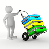 Hand truck with bags on white background Stock Photo