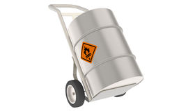 Hand Truck, with Barrel. Part of Warehouse and Logistics series Royalty Free Stock Images