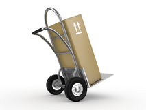 Hand truck with the box Stock Photo