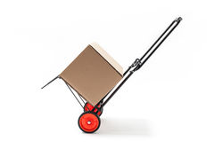 Hand Truck with Box. Hand truck - cart with carton box isolated on white Royalty Free Stock Photography