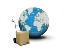 Hand truck with box and globe Royalty Free Stock Image