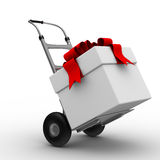 Hand truck with box on white background Royalty Free Stock Photography