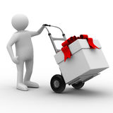 Hand truck with box on white background Stock Images