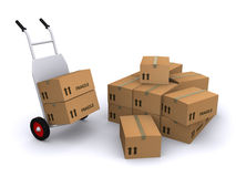 Hand truck and boxes Royalty Free Stock Images