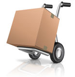 Hand truck cardboard box Royalty Free Stock Image