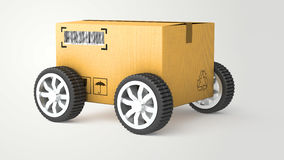 Hand Truck with Cardboard Box and Wheels - High Quality 3D Royalty Free Stock Photo