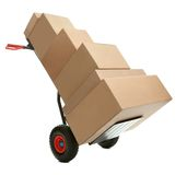 Hand truck with cardboard boxes. On it ready for delivery over white background Stock Photo