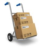 Hand truck with cardboard boxes Stock Images