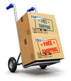 Hand truck with cardboard boxes Royalty Free Stock Photo