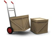 Hand truck with crates Royalty Free Stock Photography