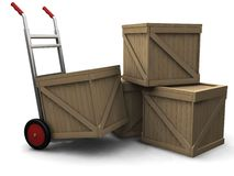 Hand truck with crates royalty free stock photos