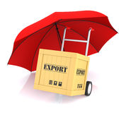 Hand Truck Export Box and Umbrella. Hand Truck Export Box and Red Umbrella. 3D Rendering Stock Photos