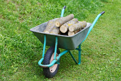 Hand truck with firewood on the  grass Royalty Free Stock Image