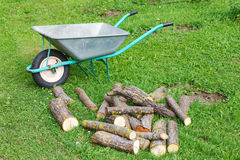 Hand truck with firewood on the grass Stock Image