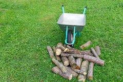 Hand truck with firewood on the grass Stock Photography