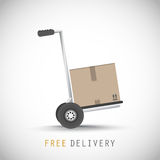 Hand truck with free delivery box Stock Image