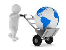 Hand truck and globe on white background Royalty Free Stock Image