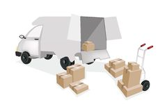 Hand Truck Loading Corrugated Cardboard into A Min Stock Images