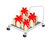Hand Truck Loading A Lovely Gift Box. Hand Truck or Dolly Loading A Beautiful Gift Boxes with Red Ribbon and Bow, A Perfect Gift or Present for Someone Special vector illustration