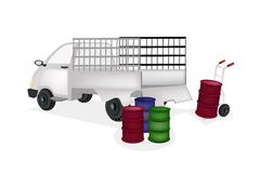 Hand Truck Loading Oil Barrels into Pickup Truck. Hand Truck or Dolly Loading Oil Drums or Oil Can into A Pickup Truck, Ready for Shipping or Delivery stock illustration