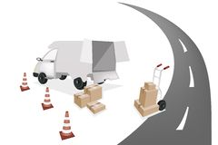 Hand Truck Loading Shipping Box into A Van Royalty Free Stock Images